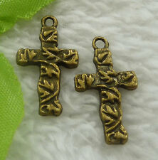 Free Ship 280 pieces bronze plated cross charms 23x13mm #2267