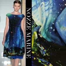 100% SILK CREPE DE CHINE CITY IN THE STARRY NIGHT PRINT BY THE METER S263