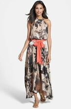 $138 Eliza J High Low Floral Print Chiffon Maxi Dress Gown 8 Nordstrom