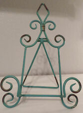 AGED SHABBY CHIC TEAL BLUE DECORATIVE EASEL STAND PICTURE ART PLATE BOOK HOLDER