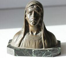 BUSTE ANCIEN EN BRONZE SUR SOCLE DE MARBRE - MATER DOLOROSA - H. 12 cm