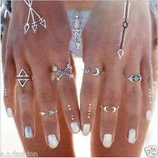 New 6 Pcs Antique Silver vintage Punk Moon Arrow Nail Ring Midi Finger Ring set