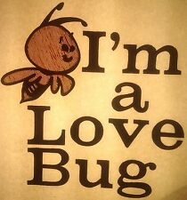 Vintage 1968 I'm A Love Bug Iron On Transfer Cute Bumble Bee VW RARE!