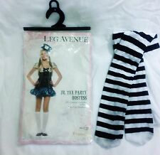 Alice In Wonderland Mad Hatter Tea Party Hostess Costume Junior S/M w/Stockings