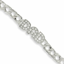 925 STERLING SILVER GENTS SOLID IDENTITY  DAD CURB CHAIN ID BRACELET GIFT BOXED