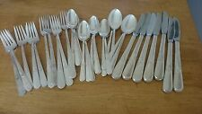 Vintage 1940 34 pc Holmes and Edwards Silverplate Youth Pattern Inlaid Flatware