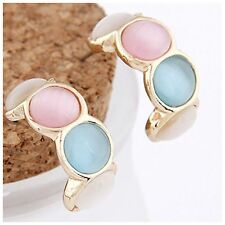 ED4 Blue Green Pink Ivory Gold Cat's Eye Cabochon Round Hoop Earrings Boutique