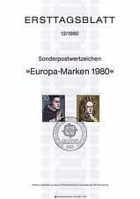 BRD 1980: Magnus und Leibniz! Ersttagsblatt der Europamarken Nr. 1049+1050! 154