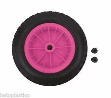 "PU 16"" PUNCTURE PROOF PINK WHEELBARROW WHEEL TYRE 4.80 - 8 FOAM FILLED"
