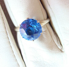 STERLING Silver 925 Faceted SAPPHIRE Colored CRYSTAL 4 Ct RING Size 7 +