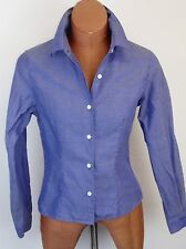 BANANA REPUBLIC Womens Blue Pin Dot Cotton Shirt Size S