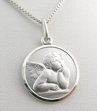 "Funky 925 Sterling Silver 18mm Angel / Cherub  Pendant with 18"" Silver Necklace"