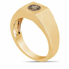 Champagne Brown Diamond Solitaire Men's Ring 14K Yellow Gold 0.47 Carat