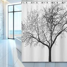 WoneNice Waterproof Shower Curtain With Tree Design 72x72 Inches Black
