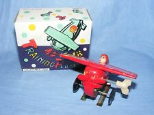 Vintage Old Tin Plate Toy Aeroplane Training Plane Clockwork Wind Up Boxed