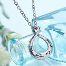 """Fashion Letter """"my sister my friend"""" Friendship Necklace Heart Pendant Silver"""