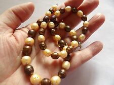 HAND KNOTTED GRADUATING SHADES OF BROWN PEARL NECKLACE STERLING SILVER CLASP A15