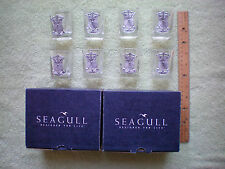 "Seagull ""Designed for Life"" Shotglass w/ Pewter Shield Armor Golf Crest Set of 8"