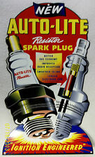 Auto-Lite Spark Plug Die-Cut Sign, Great Color and Shine, Porcelain Look & Feel