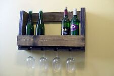 Wood Wine Bottle Shelf with Glass Holder