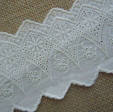 3'' Wide Vintage Embroidered Eyelet Cotton Lace Trim Ivory b0068