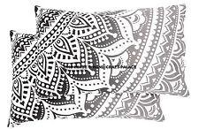 Pair of  Black & White Ombre Mandala Tapestry Pillow Sham Indian Cushion Pillows
