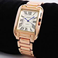 Rose Gold Geneva Classic Roman Rectangle Dial Small Size Women's Bracelet Watch