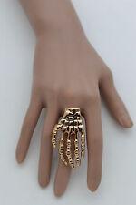 New Women Gold Metal Ring Fashion Jewelry Skeleton Long Fingers Hand Skull Bones