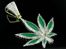 "10K Yellow Gold Enamel Coated Marijuana Leaf Genuine Diamond Pendant 1.6"" 0.85Ct"