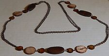 VINTAGE LONG NECKLACE DYED MOP & WOOD LG BEADS DBL GOLDTONE CHAIN
