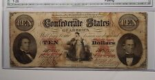 T-26 $10. Confederate States of America Very Nice Authenticated Note