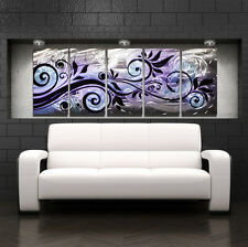 Modern Abstract Metal Wall Sculpture Contemporary Art Painting Purple Home Decor