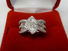 1 CT Round Baguette Diamond Anniversary Band Bypass Ring Silver Metal Sz 6