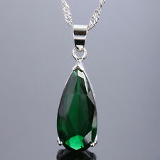 Wedding Jewelry Pear Cut Topaz White Gold Plated Pendant Chain