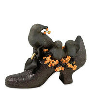 TD3016 Black Crows in Witch Shoe Halloween Figure Decor Bethany Lowe Spooky