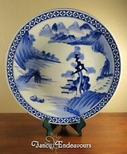 Huge Scenic Chinese Blue & White Porcelain Charger Plate Platter
