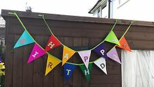 Happy Birthday Felt  Bunting / Banner- 2 Rows -Fabric Letters 23 cm Flags