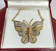 14k Yellow White Rose Gold Diamond Cut Butterfly Filigree Pendant Necklace 18""