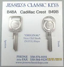 Rare Cadillac Original NOS A&B Nickel Crest & Wreath Key Set B48A & B49B