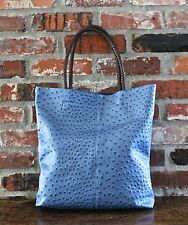 NEW HIGH FASHION BLUE WOMEN'S HANDBAG TOTE/SHOPPER OSTRICH SKIN IMITATION