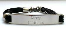 Para Hombre Negro 3 Strand Grabado Personalizado Pulsera Con Caja De Regalo De Navidad De Navidad
