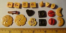 Lot of 18 BAKELITE FUN WHIMSY Etc Vintage Buttons - Sets - MOON FLOWER ANCHOR