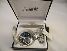 COLIBRI BLACK FACE SILVERTONE POCKETWATCH  W/DATE CHAIN AND KNIFE NEW
