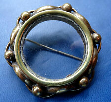 antique Victorian gold plate brass glass photo locket mourning brooch c pin C423