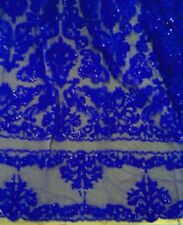 """ROYAL BEADED & SEQUINS BRIDAL LACE CORDED FABRIC 50"""" WIDE 1 YD"""