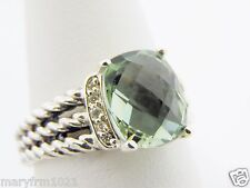 DAVID YURMAN 10x8mm PRASIOLITE DIAMOND PETITE WHEATON 925 RING SZ 8 NEW