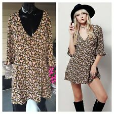 """NWOT Free People """"Downtown Mini Dress"""" Sz S, Black with Floral Print"""