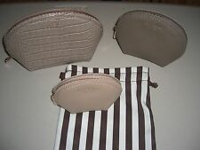 NEW Henri Bendel West 57th Cosmetic Bag 3 Set Exotic Trio Taupe NWT