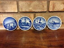 SET OF 4 FOUR OLD ROYAL COPENHAGEN DENMARK SMALL PLATES BLUE GLAZED WALL HANGERS