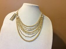 $49.50 Brooks Brothers Gold Multi-Layer Chainlink Necklace w/Box